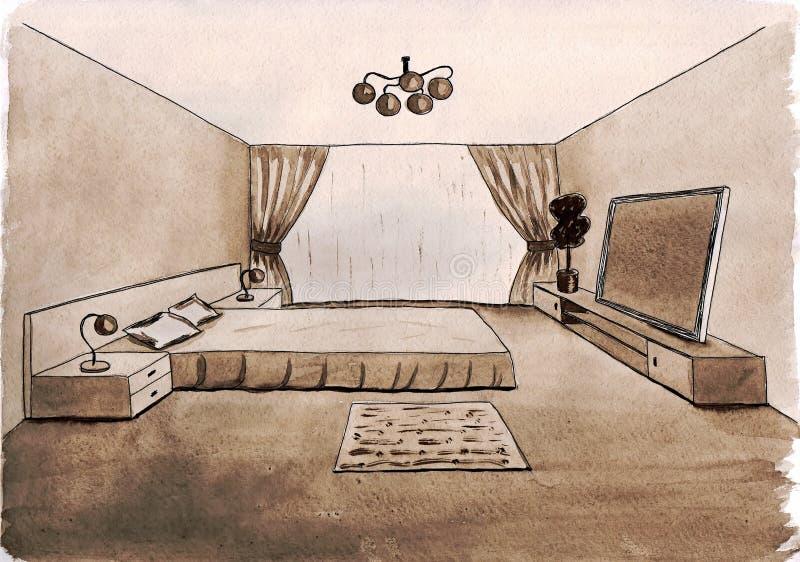 Bosquejo gráfico de un dormitorio interior ilustración del vector