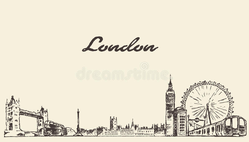 Bosquejo grabado dibujado mano del vector del horizonte de Londres stock de ilustración