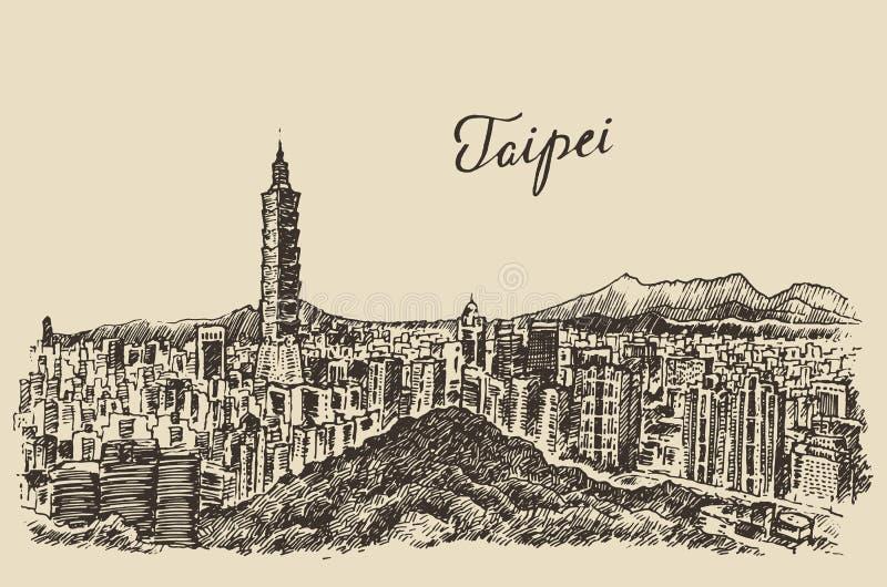 Bosquejo grabado Taiwán del ejemplo del horizonte de Taipei ilustración del vector