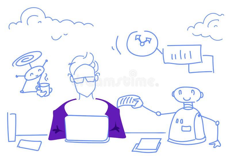 Bosquejo horizontal de trabajo del bot de la reunión de reflexión del hombre de negocios del ayudante del robot del concepto mode libre illustration