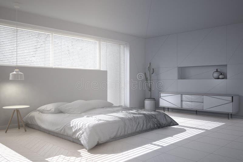 Bosquejo inacabado del proyecto del proyecto del dormitorio minimalista blanco, ventana grande con las persianas ilustración del vector