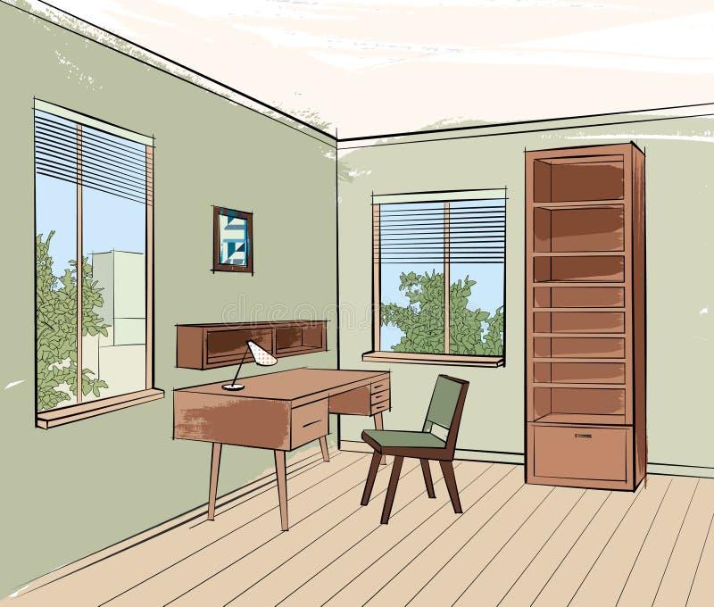 Bosquejo interior casero de la sala de estar de los muebles del lugar de trabajo stock de ilustración
