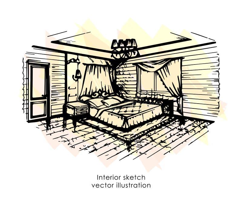 Bosquejo interior dibujado mano Diseño casero Estilo de Provence del dormitorio stock de ilustración