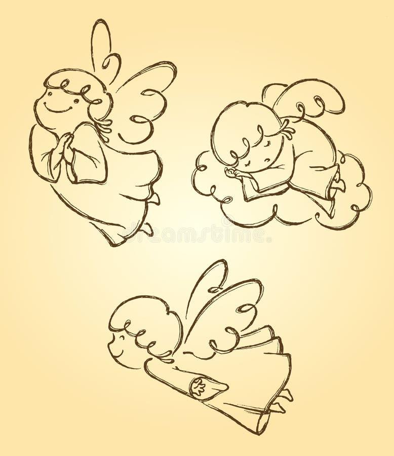 Bosquejo lindo de tres ángeles ilustración del vector