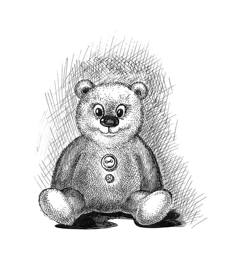 Bosquejo lindo del oso de peluche libre illustration
