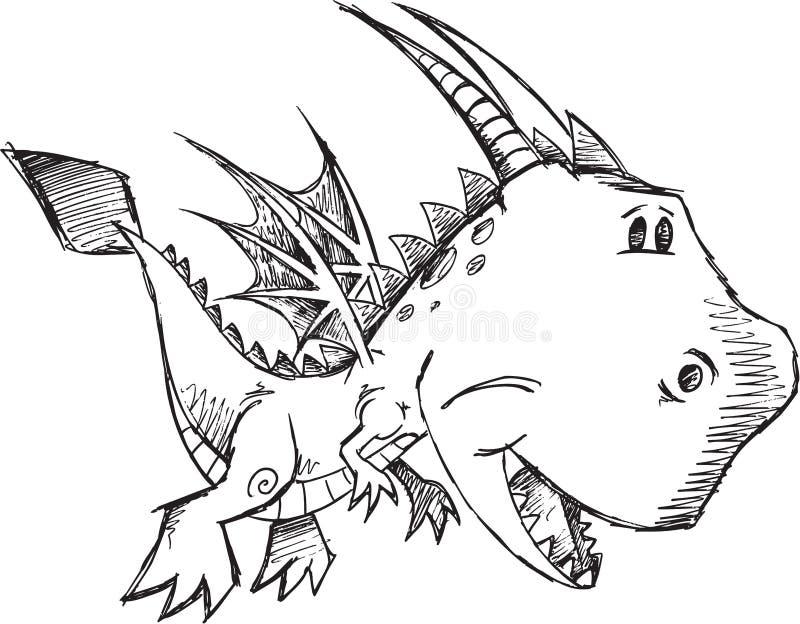 Bosquejo lindo Dragon Vector del garabato ilustración del vector