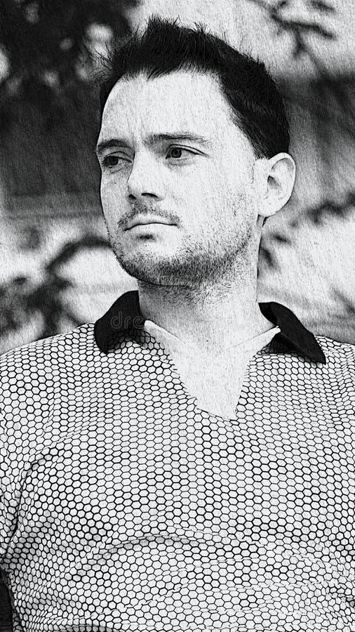 Bosquejo masculino sin afeitar imágenes de archivo libres de regalías