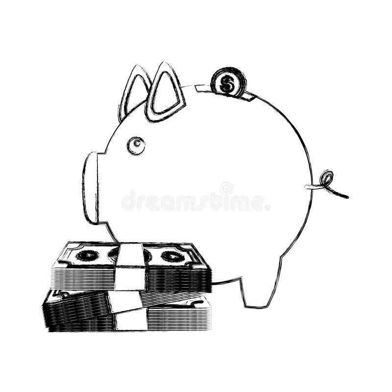 bosquejo monocromático de la caja de dinero en la forma de guarro con las cuentas y las monedas ilustración del vector