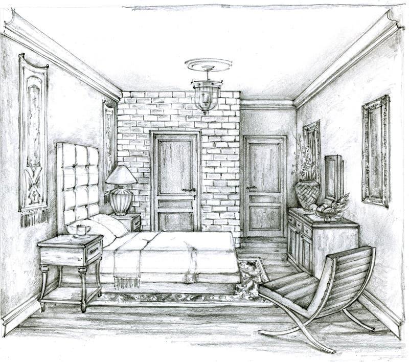 Bosquejo monocromático de un dormitorio tradicional Dibujo de lápiz de un interior clásico del dormitorio stock de ilustración