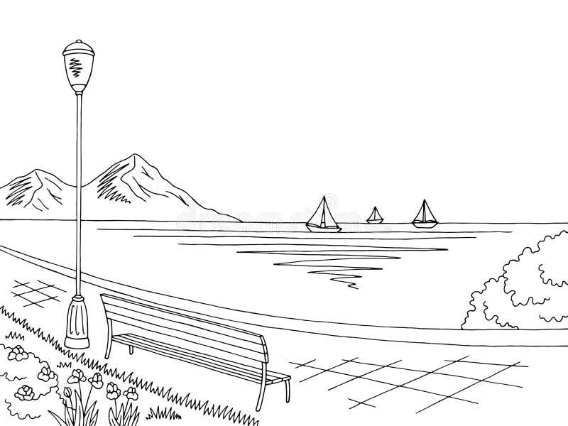 Bosquejo negro gráfico del paisaje del mar blanco del terraplén stock de ilustración