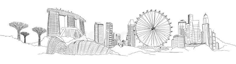 Bosquejo panorámico de SINGAPUR ilustración del vector