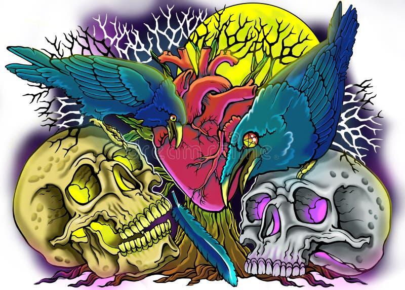 Bosquejo para los tatuajes en el estilo gótico stock de ilustración