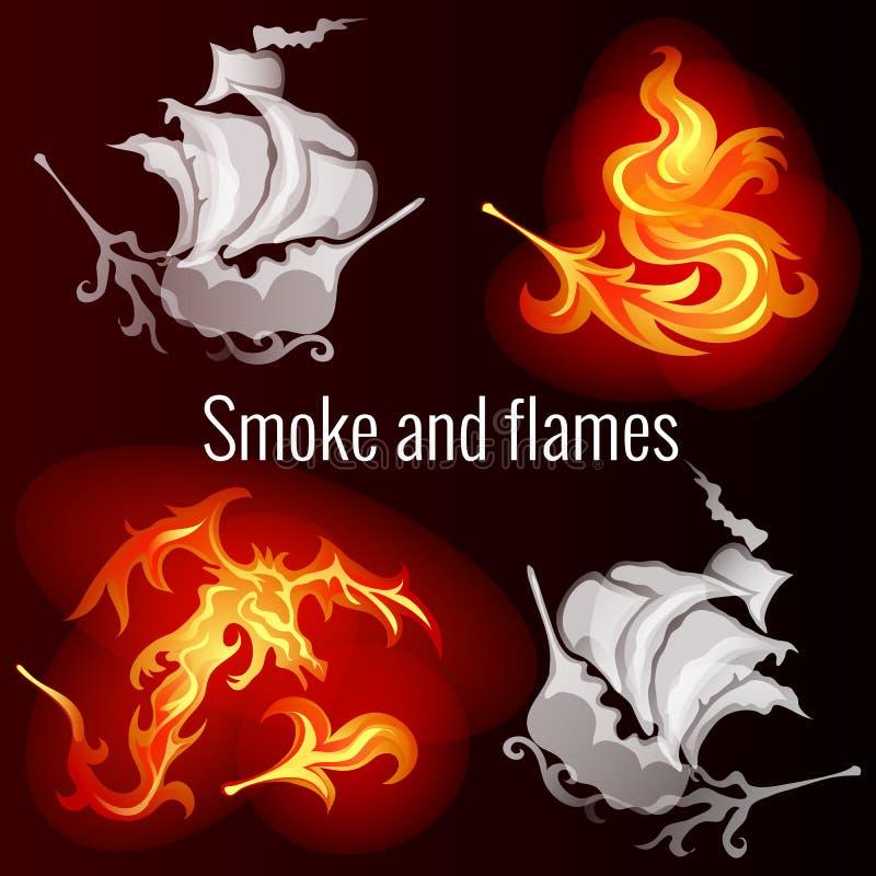 Bosquejo para un cartel en el tema del fuego y del humo Modelos bajo la forma de naves, dragón y pluma ardiente de a ilustración del vector