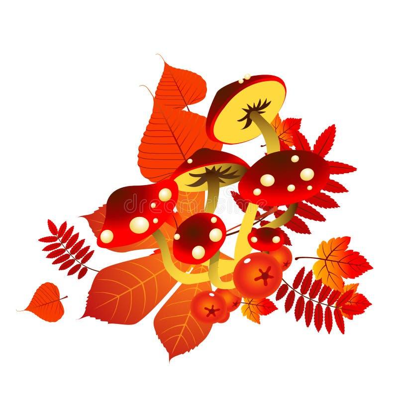 Bosquejo para un cartel en el tema del otoño de oro de la naturaleza Setas maduras debajo de las hojas amarilleadas caidas de árb libre illustration