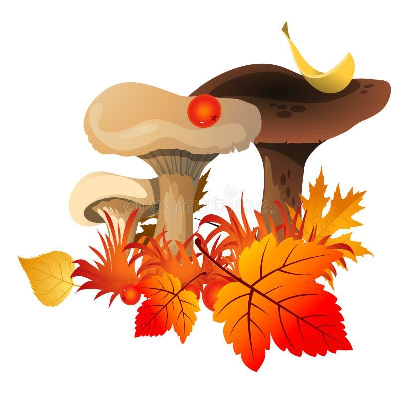 Bosquejo para un cartel en el tema del otoño de oro de la naturaleza Setas maduras debajo de las hojas amarilleadas caidas de árb ilustración del vector