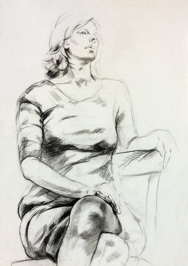 Bosquejo que se sienta de la mujer libre illustration