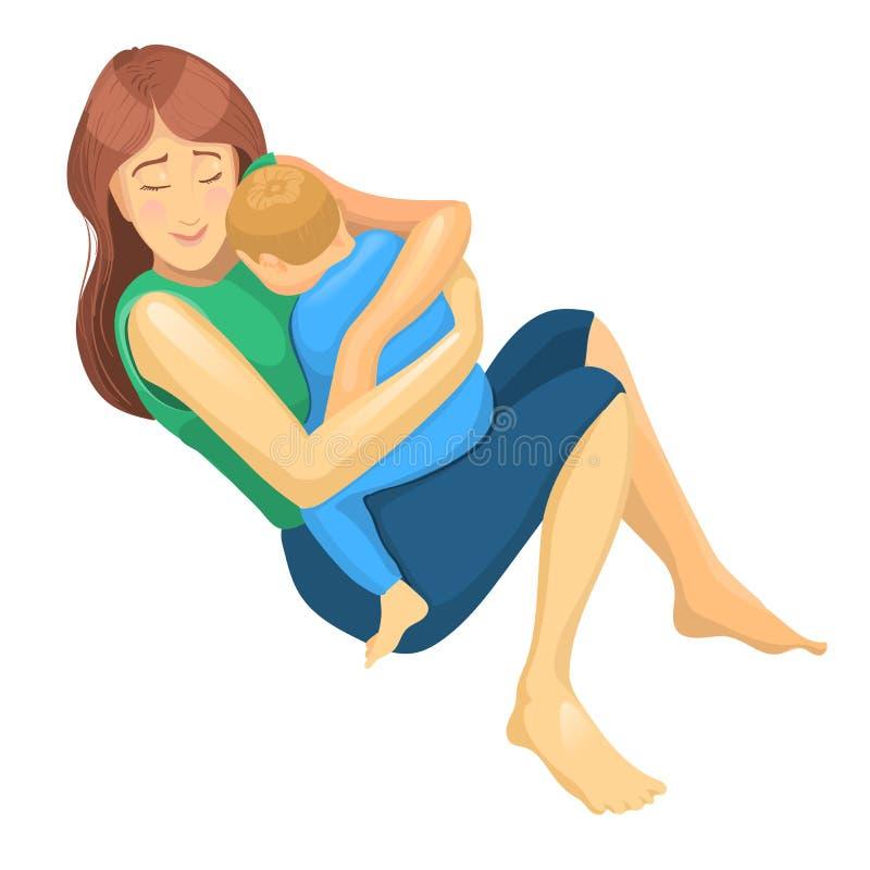 Bosquejo realista de la madre y del hijo en su abrazo Ejemplo del concepto para el día de la madre libre illustration