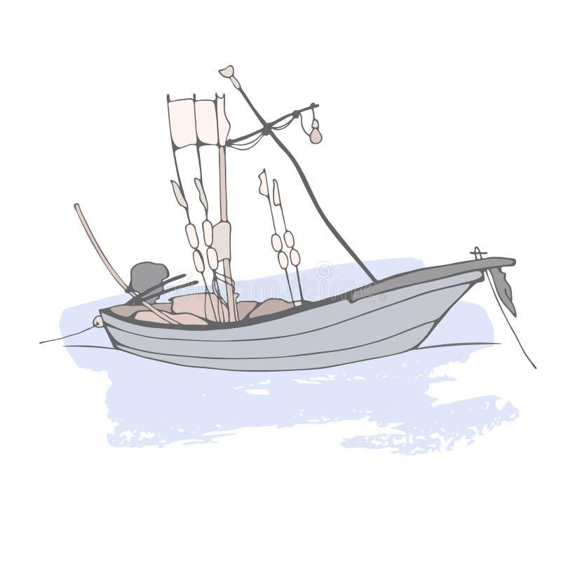 Bosquejo realista de un pequeño barco de pesca en un fondo blanco libre illustration