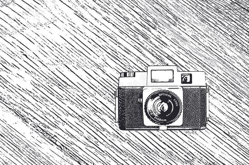 Bosquejo retro de la cámara ilustración del vector