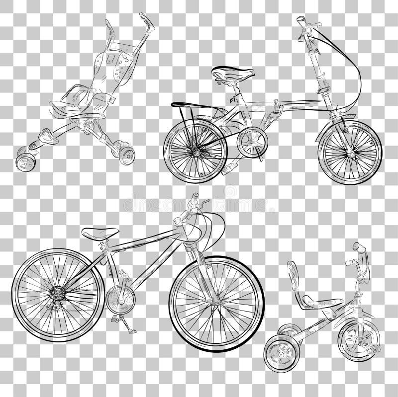 Bosquejo simple del cochecito de bebé, del triciclo, del plegamiento y de la bici de montaña en el fondo transparente del efecto libre illustration