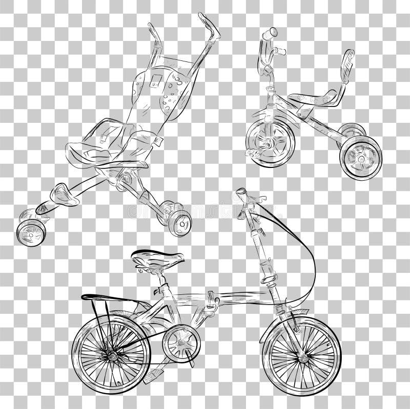 Bosquejo simple del triciclo del cochecito de bebé y de la bici plegable en el fondo transparente del efecto stock de ilustración