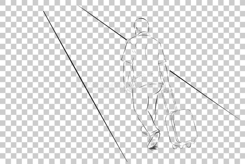 Bosquejo simple del viajero que camina, visión desde la parte posterior en el fondo transparente del efecto stock de ilustración