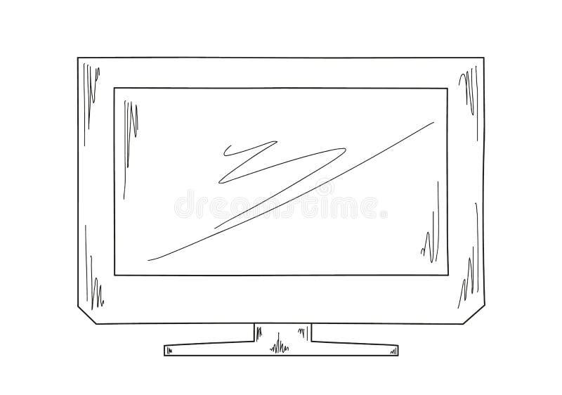 Bosquejo, televisión stock de ilustración