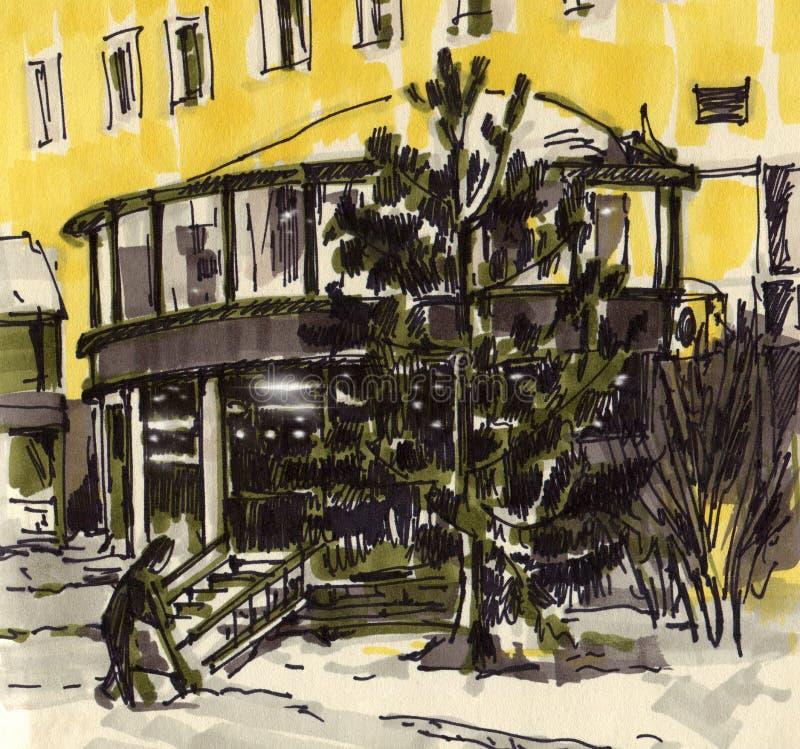 Bosquejo urbano Calle de la ciudad en invierno libre illustration