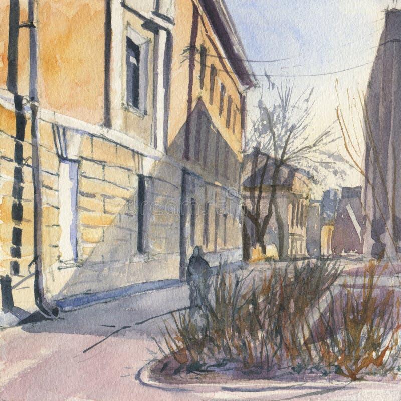 Bosquejo urbano Calle en el centro de ciudad ilustración del vector