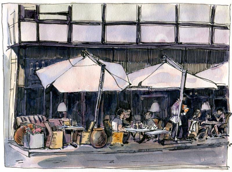 Bosquejo urbano de un caf? de la calle stock de ilustración