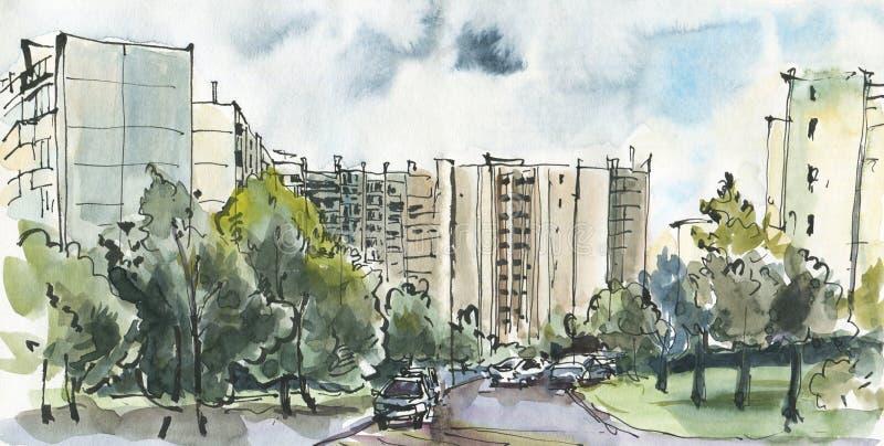 Bosquejo urbano de una ciudad moderna stock de ilustración