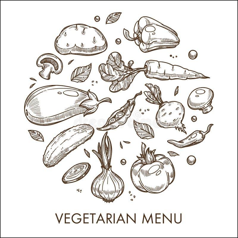 Bosquejo vegetal del alimento biológico de la cosecha del menú vegetariano stock de ilustración