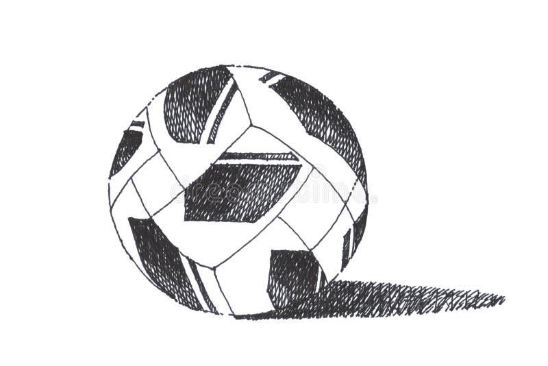 Bosquejo y diseño del balón de fútbol del fútbol Drawi negro de la mano de la pluma de la tinta fotografía de archivo libre de regalías