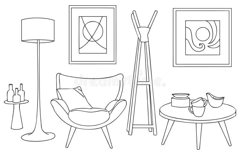 Bosquejo y esquema del diseño único y artístico de los muebles ilustración del vector