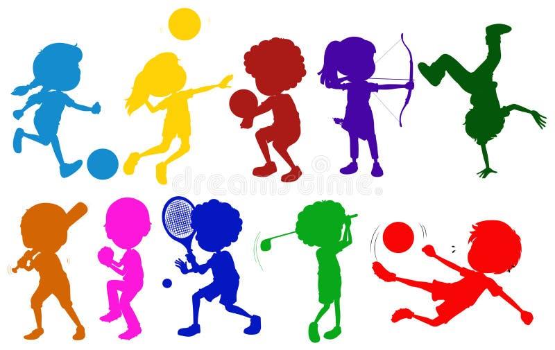 Bosquejos coloreados de los niños que juegan con los diversos deportes ilustración del vector
