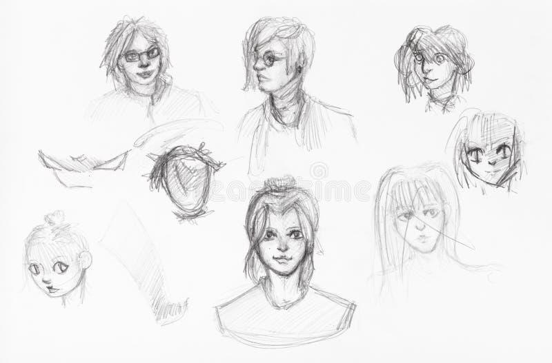 Bosquejos de diversas cabezas de muchachas y de muchachos libre illustration