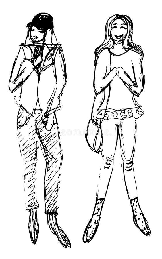 Bosquejos de dos mujeres vestidas libre illustration