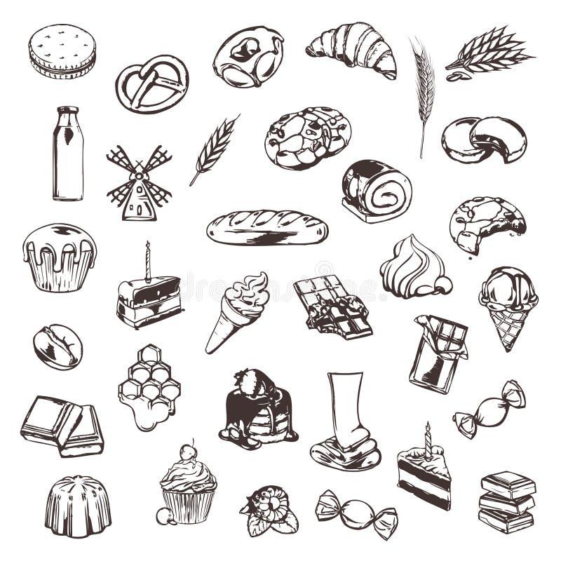 Bosquejos de la confitería de iconos ilustración del vector