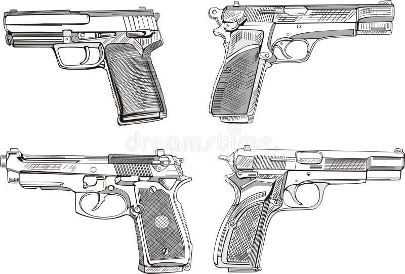 Bosquejos de la pistola stock de ilustración