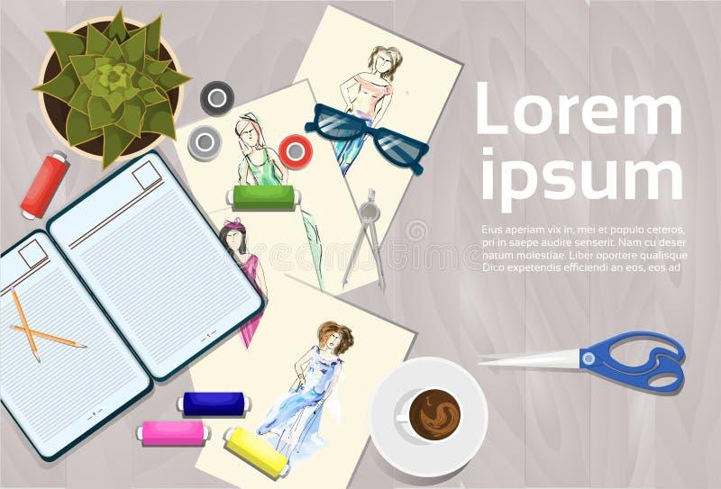 Bosquejos de la ropa en el diseñador de moda Working Table Top ilustración del vector