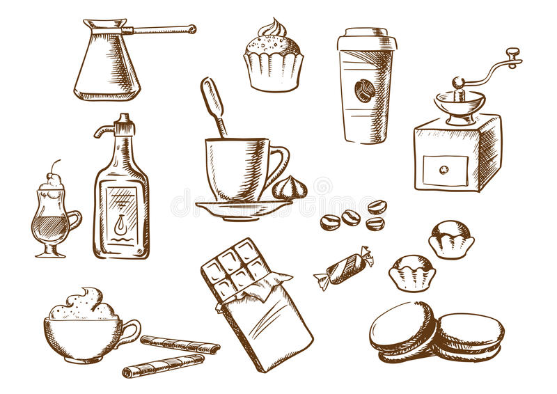 Bosquejos de las bebidas, de los ingredientes y de los postres del café ilustración del vector