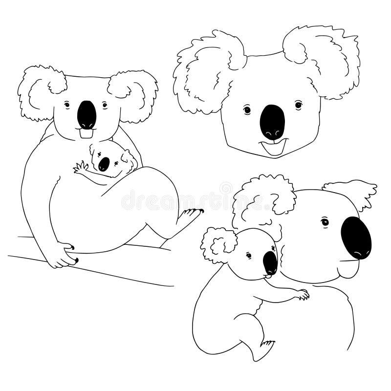Bosquejos de las koalas lindas de la historieta con los bebés en el fondo blanco Fije a mano de la línea arte exhausta de animale libre illustration