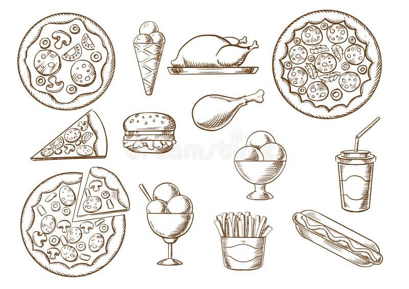 Bosquejos de los alimentos de preparación rápida, de la bebida y de los postres stock de ilustración