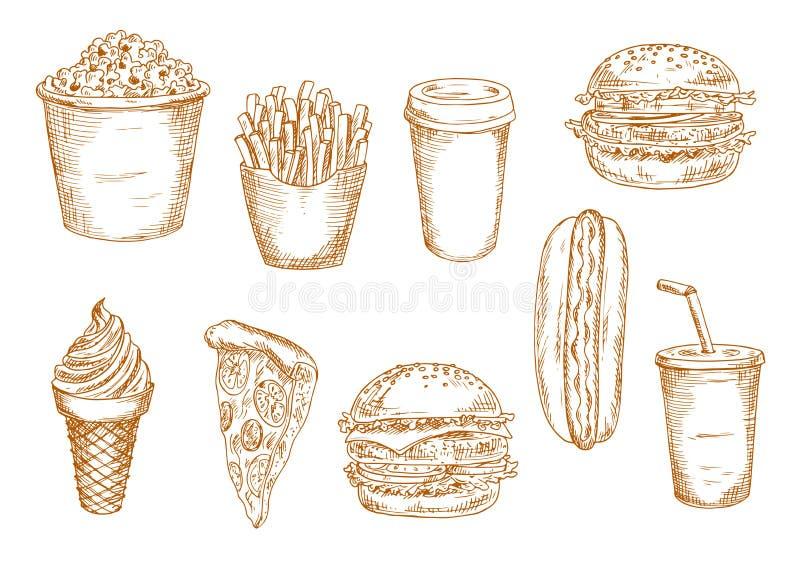 Bosquejos de los alimentos de preparación rápida y de los postres libre illustration