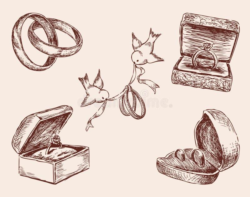 Bosquejos de los anillos de bodas stock de ilustración