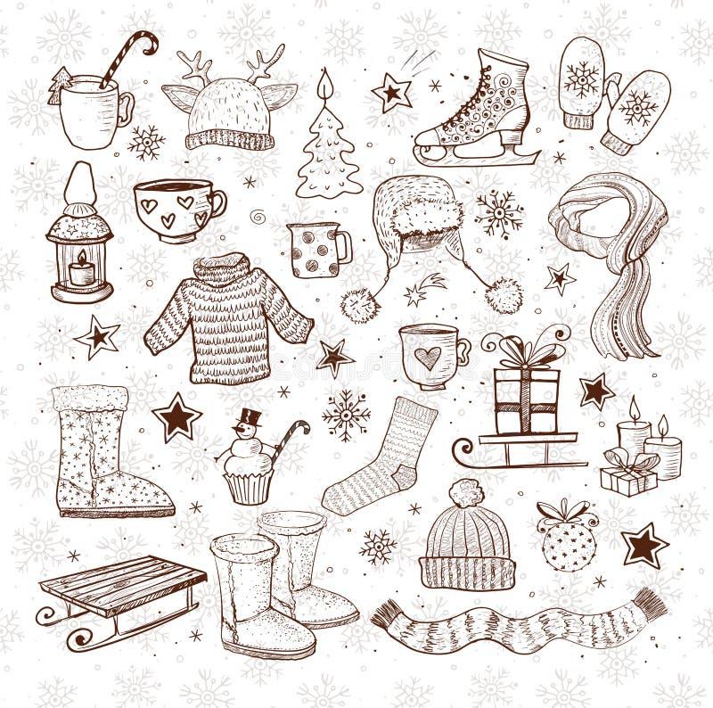 Bosquejos de los elementos del invierno - botas del ugg, ropa caliente, linterna, bufanda, trineo y otros Ejemplo del vector en v ilustración del vector
