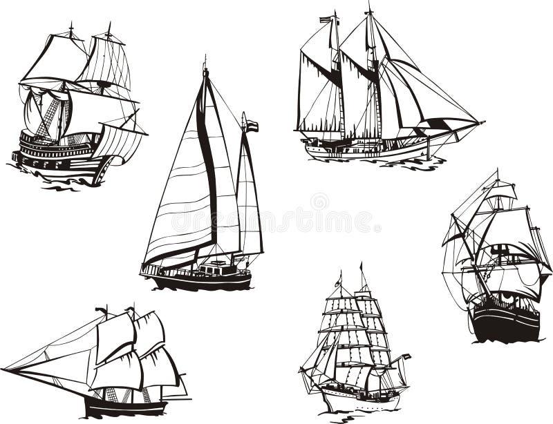 Bosquejos de los veleros ilustración del vector