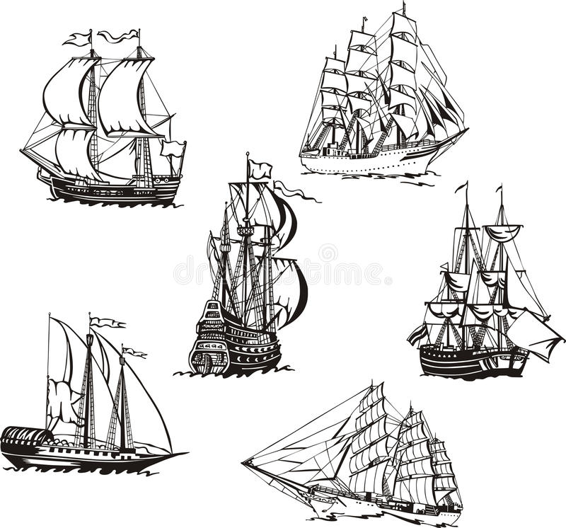 Bosquejos de los veleros stock de ilustración