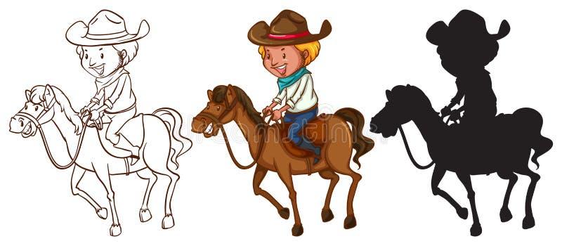 Bosquejos de un hombre que monta un caballo stock de ilustración
