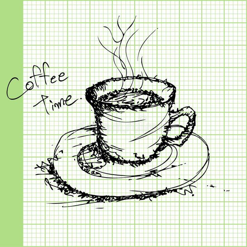 Bosquejos del drenaje del café en vector del papel cuadriculado stock de ilustración